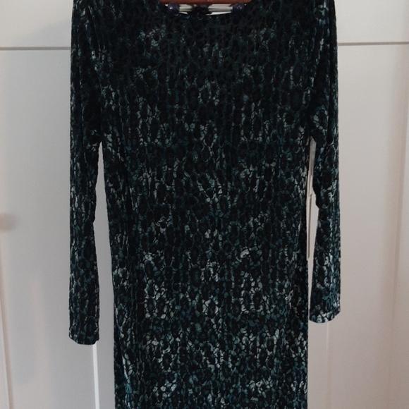 Leopard Print Knit Padded Shoulder Dress